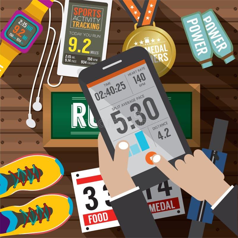 L'application d'activité de sport dans Smartphone avec le sport embraye des articles à l'arrière-plan illustration de vecteur
