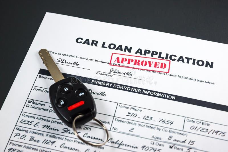 L'application de prêt automobile a approuvé 002 photo libre de droits