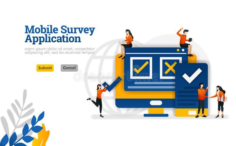 L'applicazione mobile di indagine da scegliere di acconsentiree ed essere in disaccordo sul concetto dell'illustrazione di vettor illustrazione vettoriale