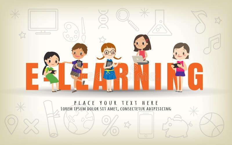 L'apprentissage en ligne badine l'illustration de concept de cours de formation illustration stock