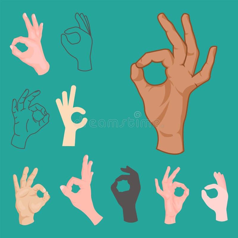 L'approvazione passa l'essere umano di affari del segnale di accordo di okey di gesto di successo sì acconsente il migliore vetto illustrazione vettoriale