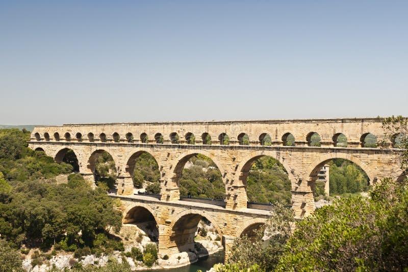 l'Aquaduct - le Pont romains du le Gard photographie stock libre de droits