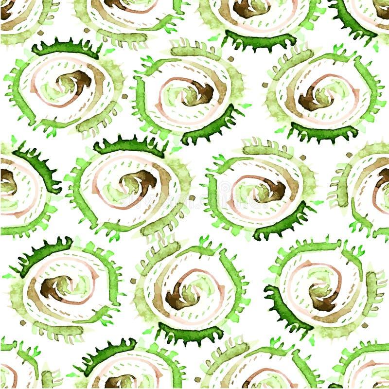 L'aquarelle abstraite de vecteur tourbillonne modèle sans couture Fond vert de tuile de cercles illustration libre de droits