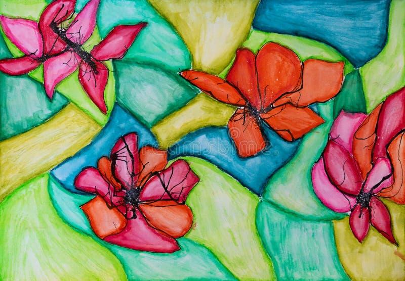 L'aquarelle abstraite fleurit la peinture La main peignent toujours la vie illustration stock