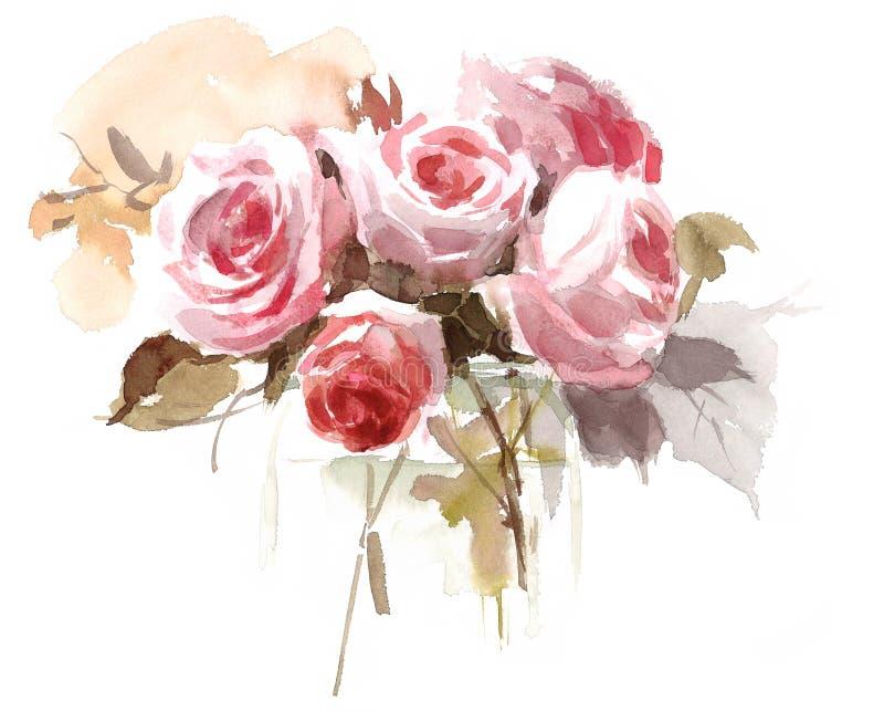 L 39 aquarelle anglaise de roses de jardin fleurit l for Jardin 0 l4anglaise