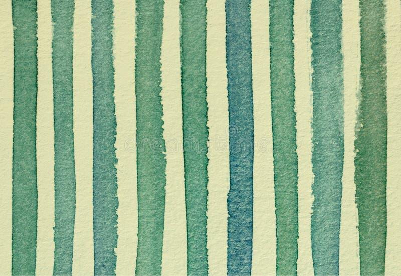 L'aquarelle a barré les couleurs vertes et jaunes FO de vintage de fond illustration stock