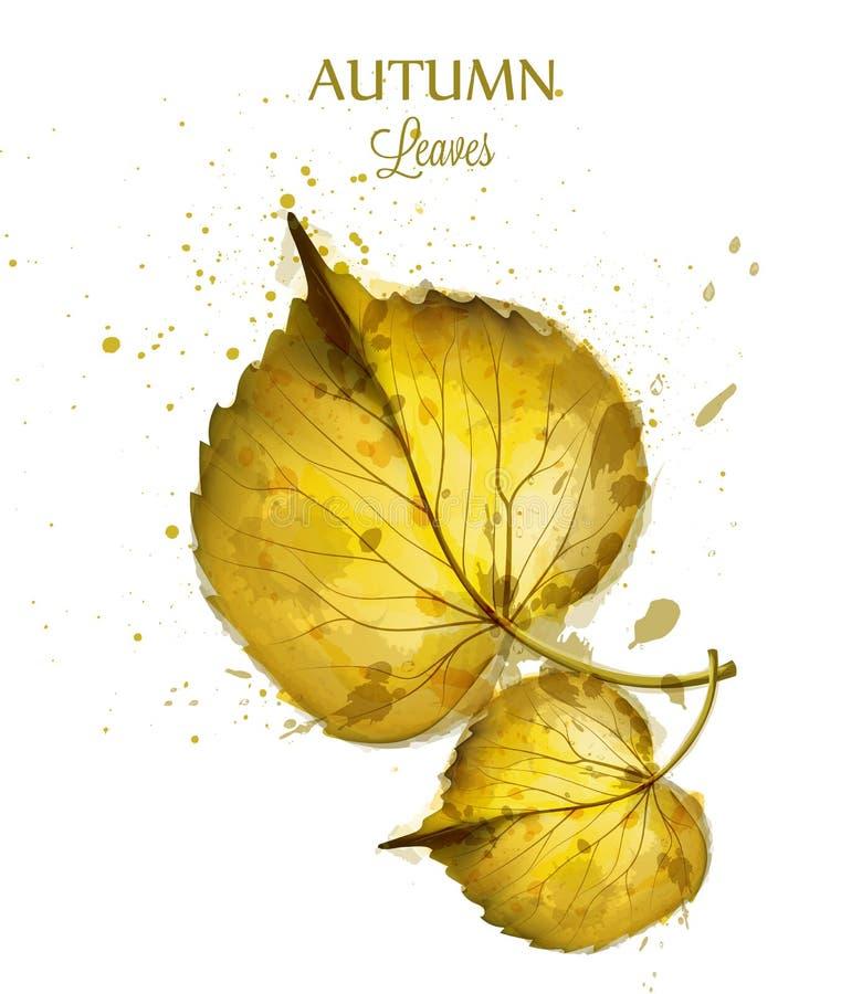 L'aquarelle d'automne laisse le vecteur d'isolement sur le fond blanc Calibre de bannière de chute Couleurs d'or illustration libre de droits