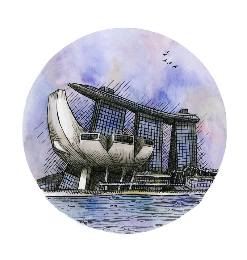 L'aquarelle de dessin de main de Marina Bay Sands Singapore de casino d'hôtel d'isolement illustration libre de droits