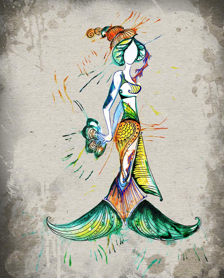L'aquarelle de fille d'horoscope de poissons photo stock