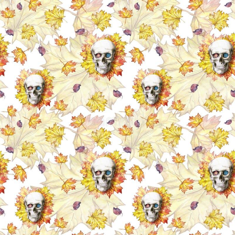 L'aquarelle dessinant le crâne humain de fond sans couture pour Halloween avec le jaune d'automne part et fleurit dans les orbite illustration libre de droits