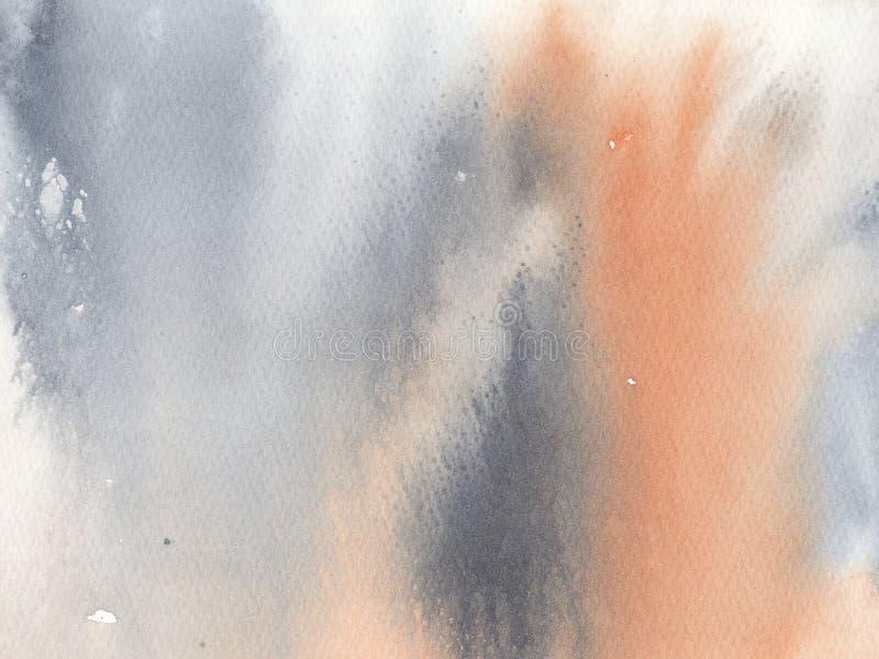 L'aquarelle a donné au fond une consistance rugueuse gris et orange illustration libre de droits
