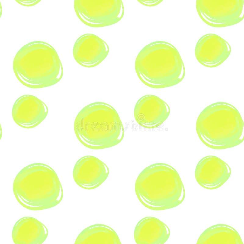 L'aquarelle entoure le modèle sans couture Fond abstrait coloré de formes rondes Bulle verte sur le blanc Couleur de points de po illustration stock