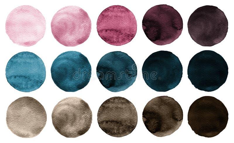 L'aquarelle entoure les couleurs de rose de collection, bleues et brunes illustration de vecteur