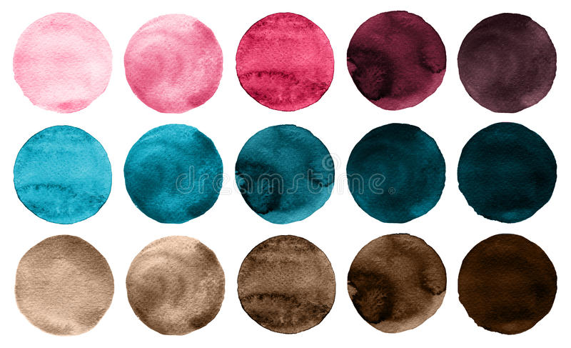 L'aquarelle entoure les couleurs de rose de collection, bleues et brunes illustration libre de droits