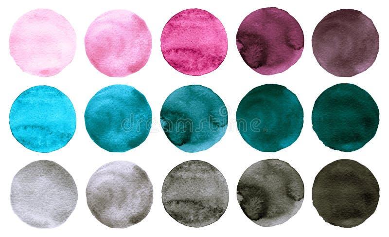 L'aquarelle entoure les couleurs de rose de collection, grises et bleues illustration stock