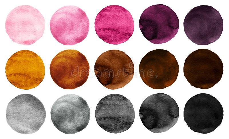 L'aquarelle entoure les couleurs de rose de collection, grises et brunes illustration de vecteur