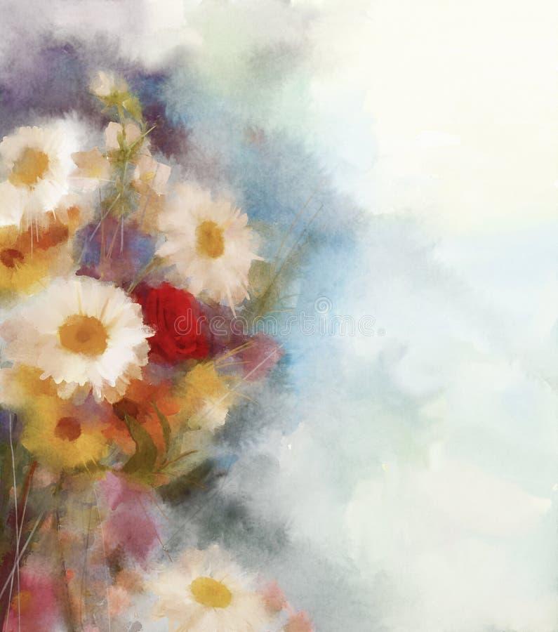 L'aquarelle fleurit la peinture Fleurs dans le style doux de couleur et de tache floue illustration de vecteur