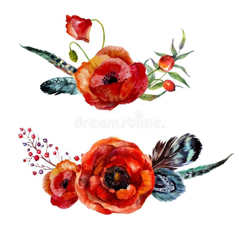 L'aquarelle fleurit le bouquet illustration de vecteur