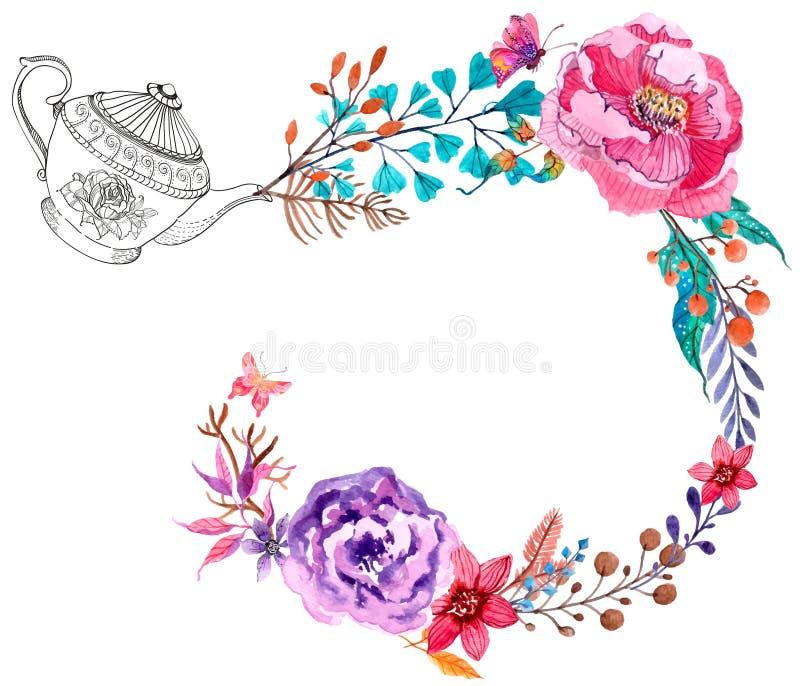 L'aquarelle fleurit le fond illustration libre de droits