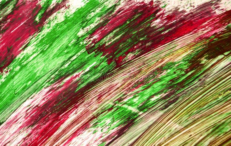 L'aquarelle lumineuse pourpre verte rouge-rose boueuse peignent le fond, la texture et les courses abstraits acryliques de la bro illustration stock