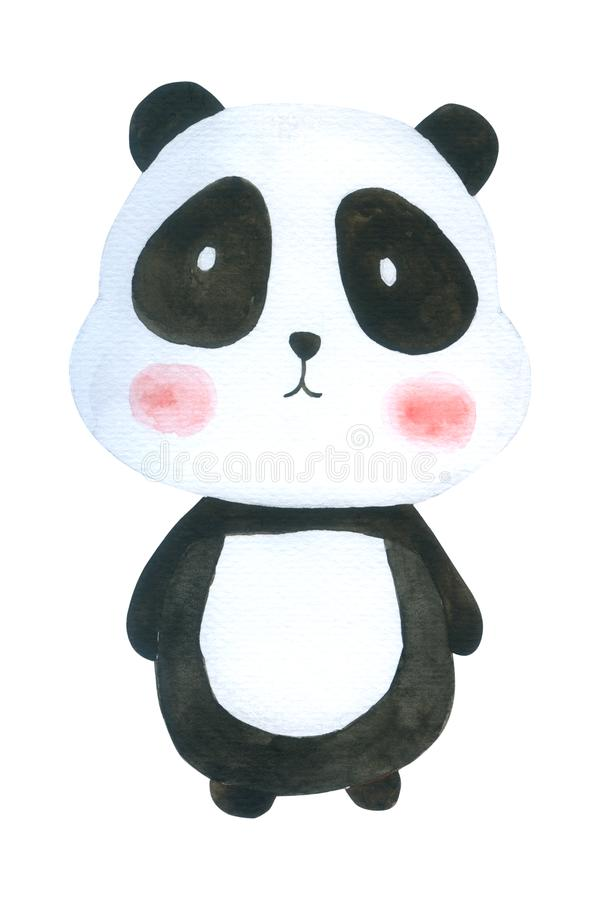 L'aquarelle mignonne de panda d'isolement sur le fond blanc, caractère tiré par la main pour des enfants, carte de voeux, cas con illustration libre de droits