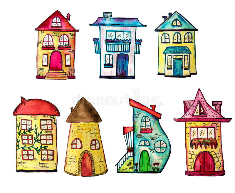 L'aquarelle mignonne a peint des maisons réglées Peut être employée pour la conception mignonne d'impression pour la carte la sal illustration stock