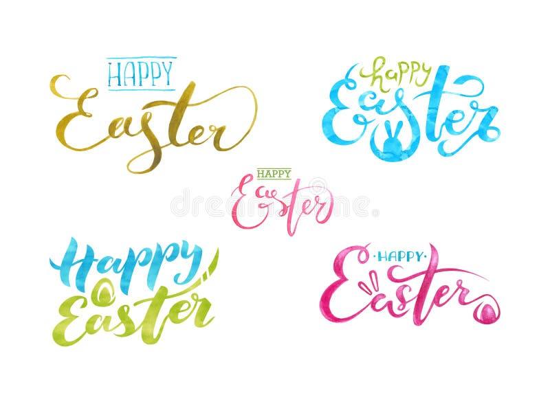 L'aquarelle a placé marquer avec des lettres Joyeuses Pâques D'isolement sur le fond blanc illustration de vecteur