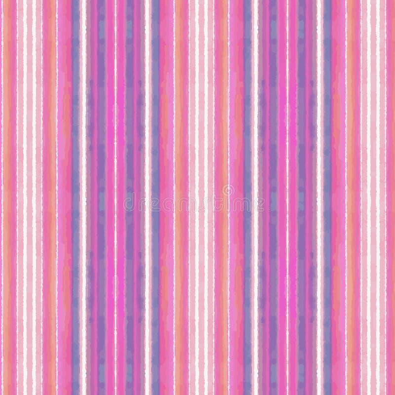L'aquarelle rose et bleue colorée lumineuse a donné à des rayures une consistance rugueuse dans un modèle de répétition illustration libre de droits
