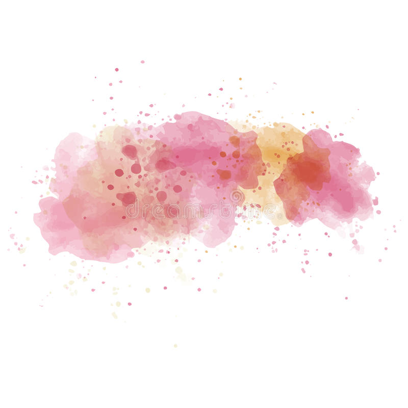 L'aquarelle rose a peint la tache d'isolement sur le fond blanc illustration stock
