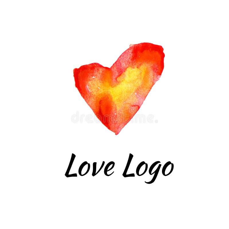 L'aquarelle tirée par la main de coeur de conception de logo signe le calibre de vecteur illustration libre de droits