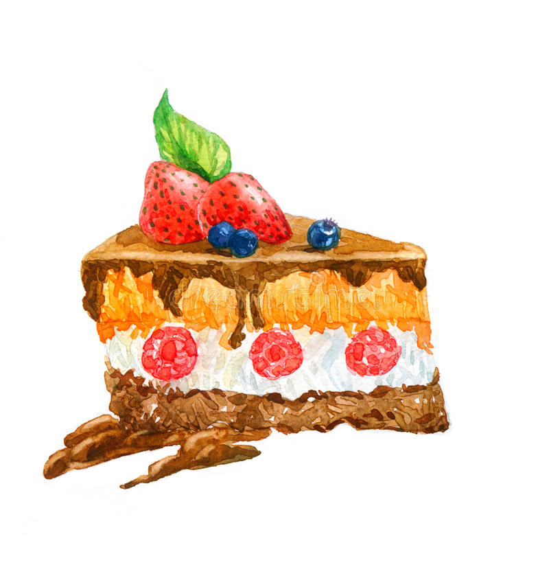 L'aquarelle triangulaire de gâteau de dessert de gâteau illustration de vecteur