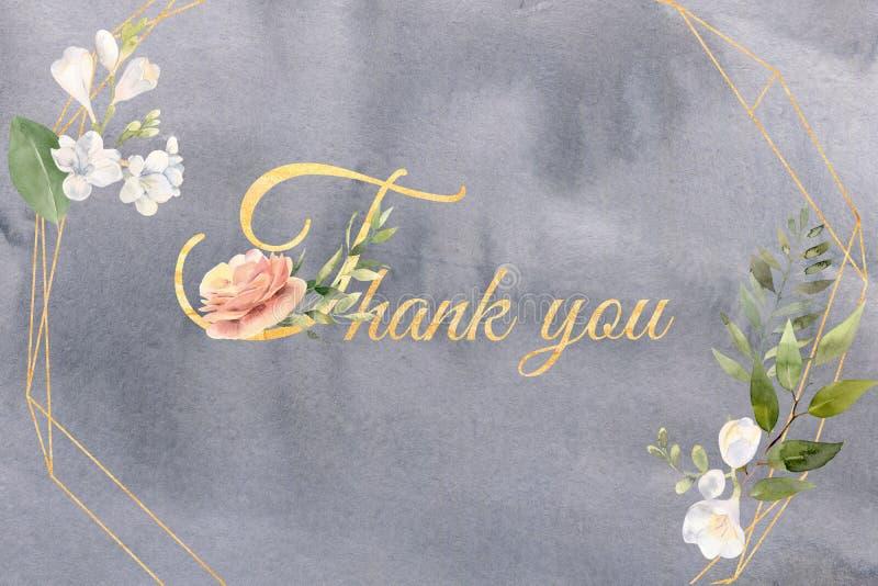 L'aquarelle vous remercient carte avec les fleurs et la verdure sur le gris illustration stock