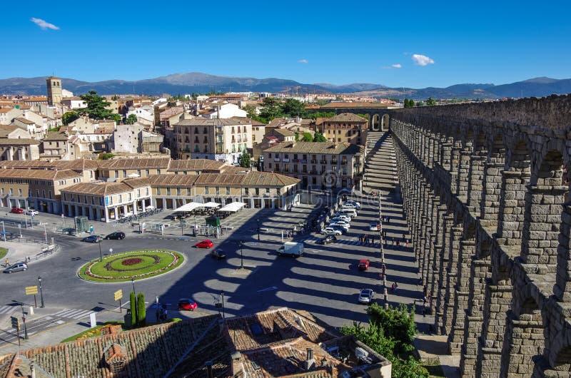 L'aquedotto antico famoso a Segovia, Castiglia y Leon fotografia stock