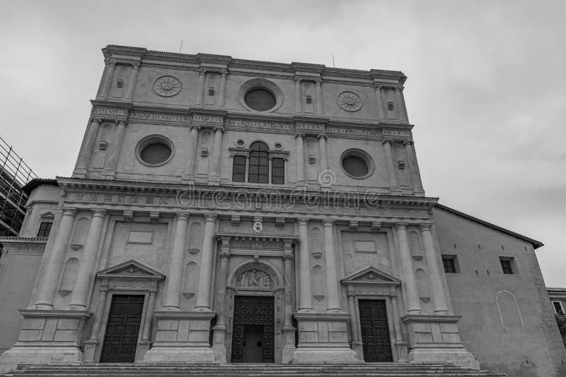 L'Aquila, Abruzzo. Basilica of San Bernardino. It was built, with the adjacent convent, between 1454 and 1472 in honor of Saint Bernardino of Siena stock image