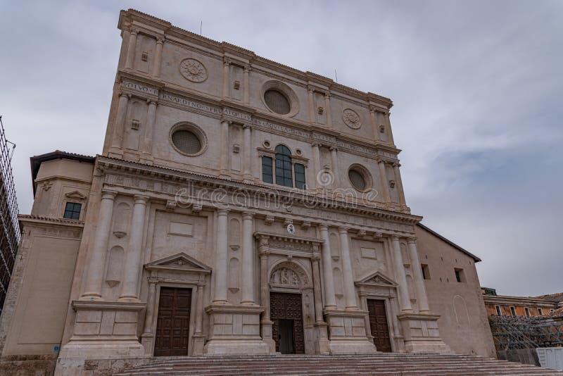 L'Aquila, Abruzzo. Basilica of San Bernardino. It was built, with the adjacent convent, between 1454 and 1472 in honor of Saint Bernardino of Siena stock photo