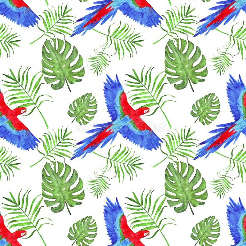 L'ara tropical de perroquet de modèle d'aquarelle laisse le monstera et la paume illustration libre de droits