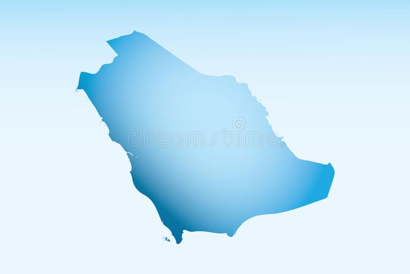 L'Arabie saoudite bleue cartographie la glace avec un vecteur d'effet sombre et léger sur fond clair illustration stock