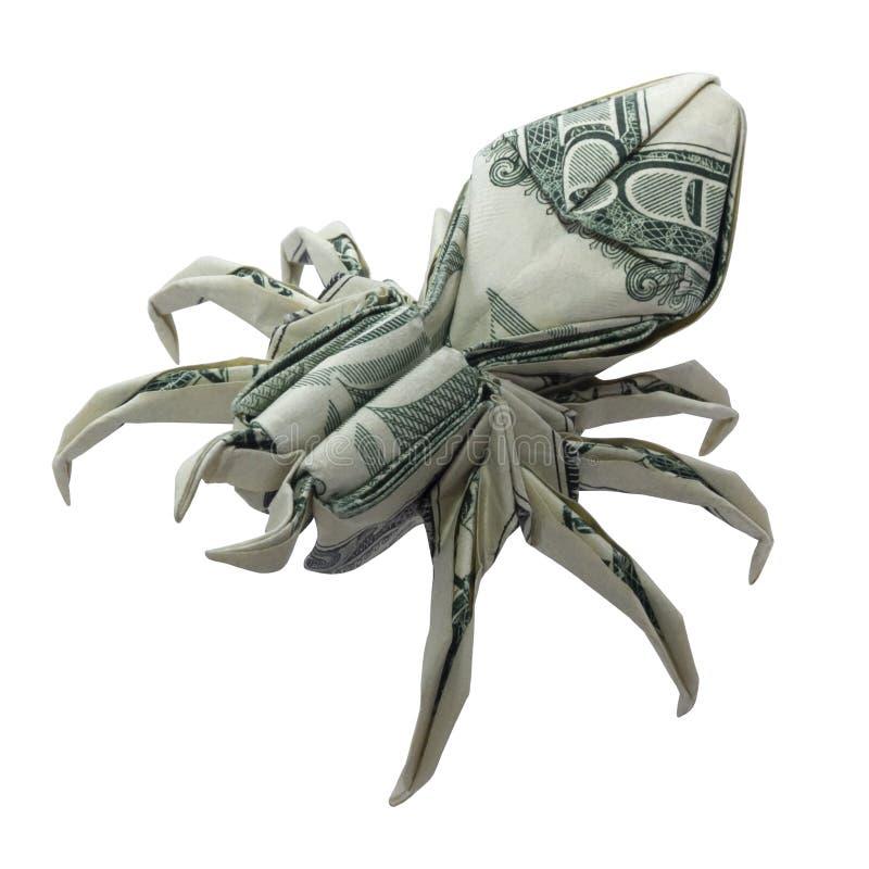 L'ARAIGNÉE d'origami d'argent s'est pliée avec le vrai un dollar Bill Isolated sur le blanc images stock