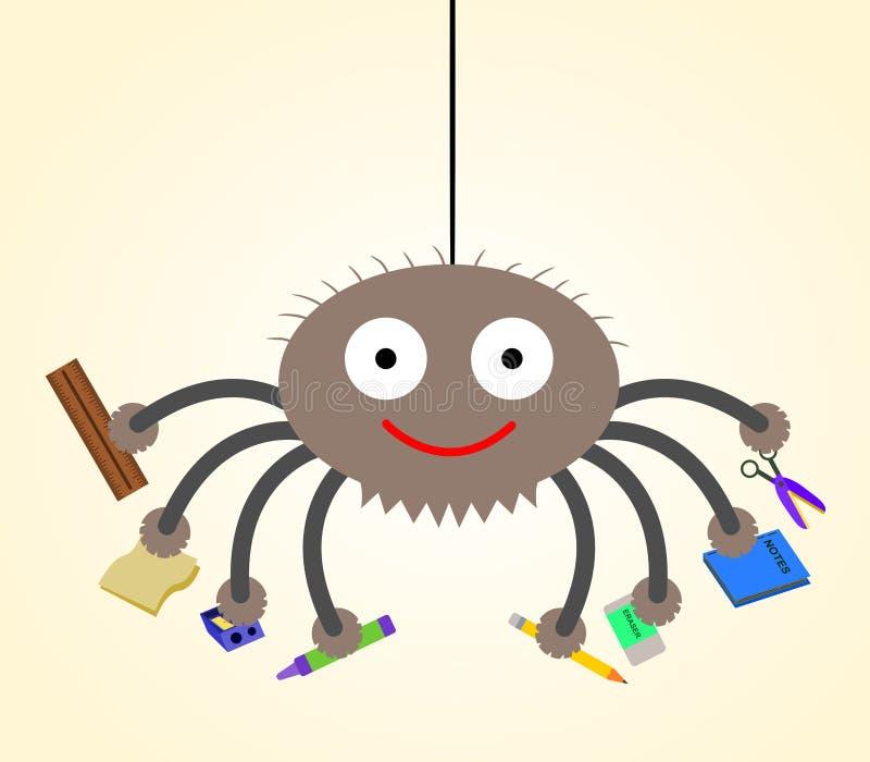 L'araignée va à l'école illustration libre de droits