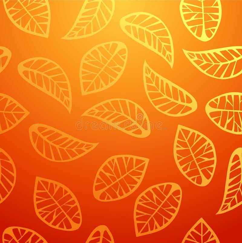 L'arancia fresca lascia il modello illustrazione vettoriale