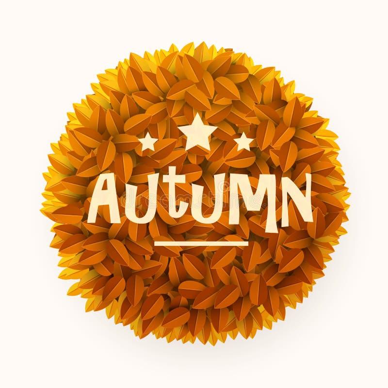 L'arancia o il giallo lascia la struttura del cerchio isolata su fondo bianco Elemento floreale della decorazione Autunno o conce royalty illustrazione gratis