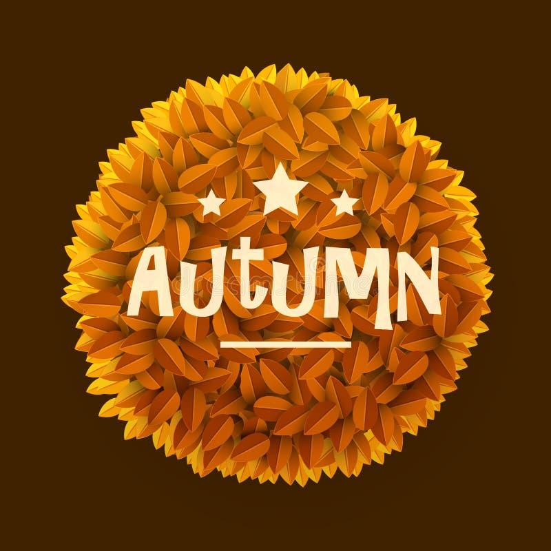L'arancia o il giallo lascia la struttura del cerchio isolata su fondo scuro Elemento floreale della decorazione Autunno o concet illustrazione di stock