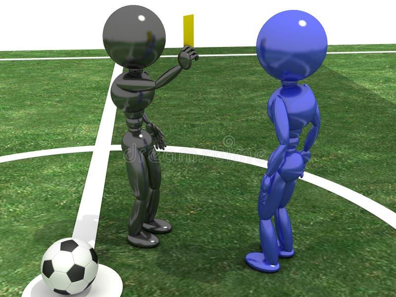"""L'arbitre montre une carte jaune au """"d'â de joueur – 3 illustration de vecteur"""