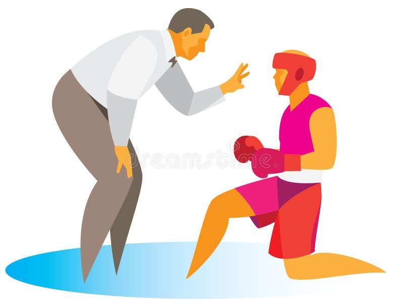 L'arbitre ouvre une explication un boxeur qui manque un tir illustration libre de droits