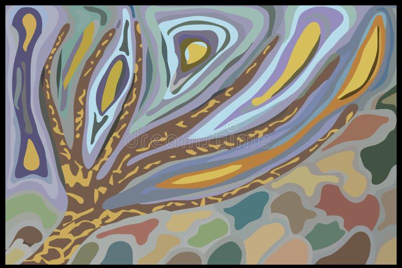 L'arbre de dessin abstrait de vent d'automne laisse le ciel illustration libre de droits