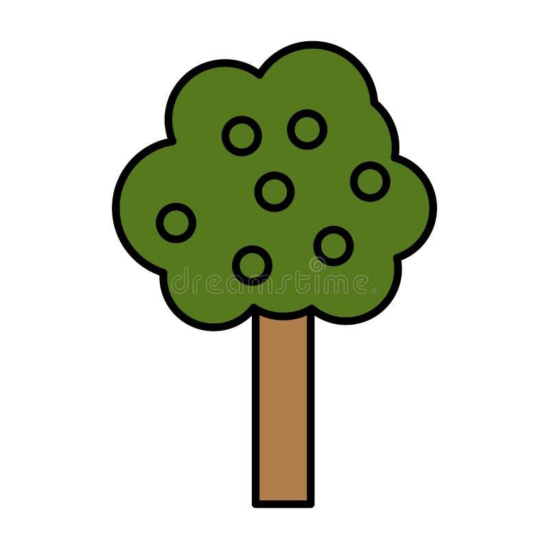 L'arbre de nature de couleur part avec le style de tige illustration stock
