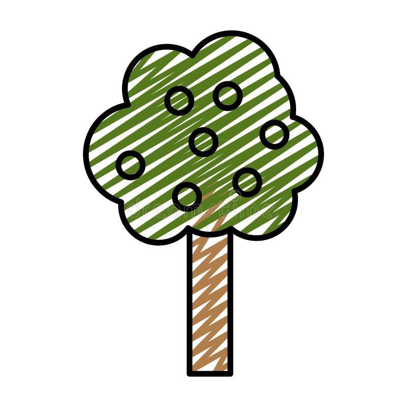 L'arbre de nature de griffonnage part avec le style de tige illustration de vecteur