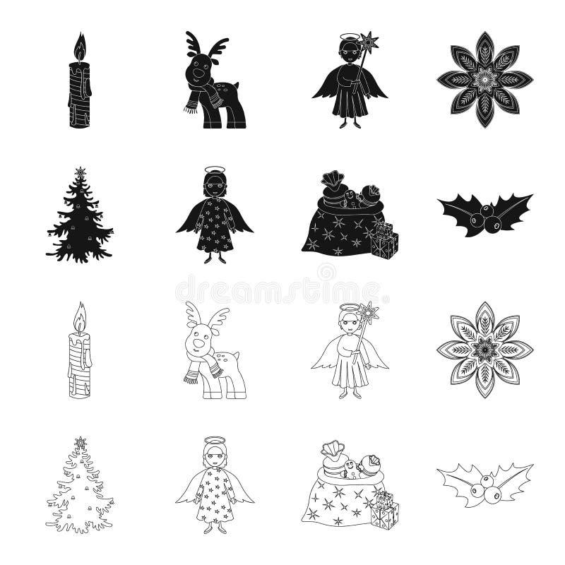 L'arbre de Noël, l'ange, les cadeaux et le houx noircissent, décrivent des icônes dans la collection d'ensemble pour la conceptio illustration libre de droits
