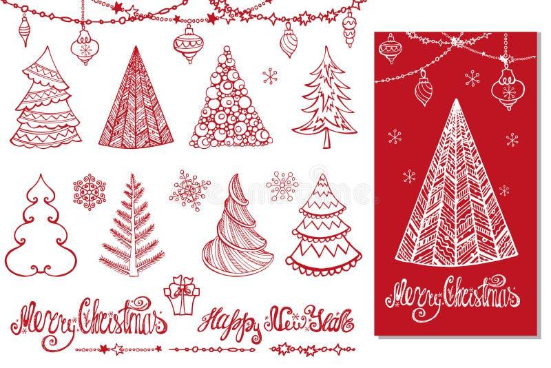 L'arbre de Noël, boules, décor, souhaite Carte rouge illustration libre de droits