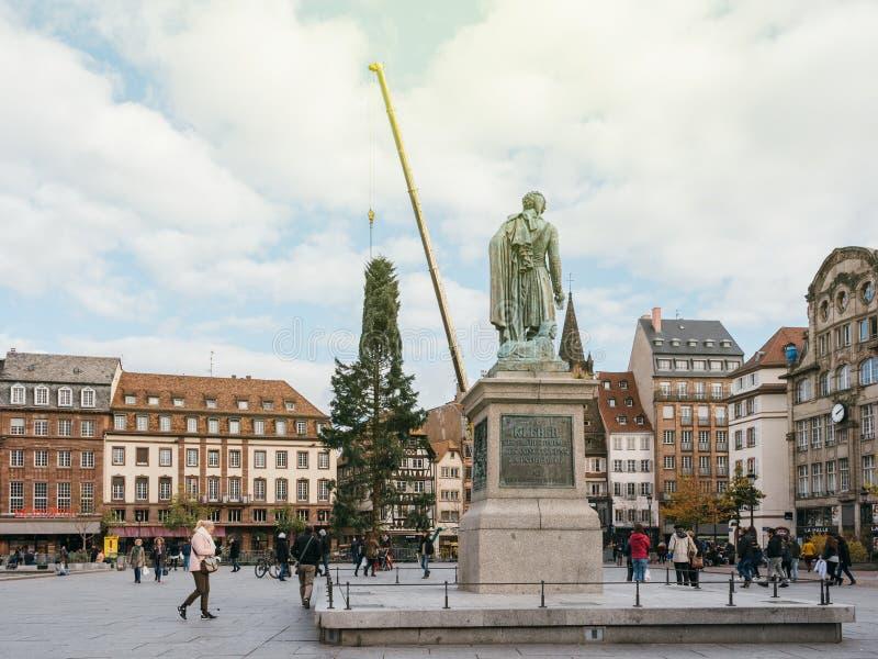 L'arbre de Noël central installent Kleber en place avec le Général Monu image stock